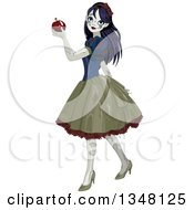 Clipart Of A Halloween Zombie Snow White Holding An Apple Royalty Free Vector Illustration by Pushkin