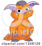 Clipart Of A Cartoon Happy Orange And Purple Monster Smiling Royalty Free Vector Illustration