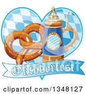 Clipart Of A German Beer Stein With A Soft Pretzel Over A Heart And Oktoberfest Banner Royalty Free Vector Illustration by Pushkin