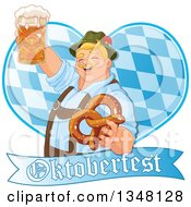 Happy Blond Oktoberfest German Man Holding A Beer Mug And Soft Pretzel Over A Diamond Patterned Heart And Banner