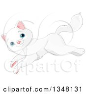 Clipart Of A Cute Blue Eyed White Cat Jumping To The Left Royalty Free Vector Illustration