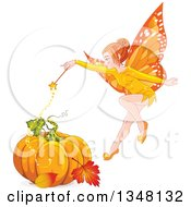 Clipart Of A Magic Autumn Fairy Flying Over A Pumpkin And Autumn Leaves Royalty Free Vector Illustration