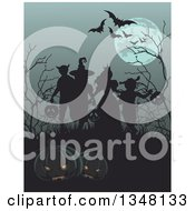 Clipart Of A Group Of Silhouetted Halloween Children On A Grassy Hill With Bare Trees Flying Bats And A Full Moon Jackolanterns In The Foreground Royalty Free Vector Illustration by Pushkin