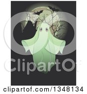 Clipart Of A Halloween Ghost Over Silhouetted Bare Branches Tombstones Flying Bats And A Full Moon Royalty Free Vector Illustration