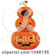 Clipart Of A Stack Of Carved Halloween Jackolantern Pumpkins Royalty Free Vector Illustration