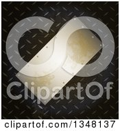 Clipart Of A Tilted 3d Blank Metal Plaque Over Diamond Plate Royalty Free Vector Illustration