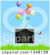 Clipart Of A Floating Blackboard With Party Balloons And Butterfly Over Grass And Blue Sky Royalty Free Vector Illustration by elaineitalia