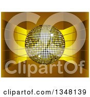 Clipart Of A 3d Gold Disco Ball Over Shiny Curving Stripes Royalty Free Vector Illustration