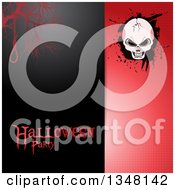 Clipart Of A Split Black And Red Halftone Halloween Invitation Background With Text A Noose And Cracked Skull On Grunge Royalty Free Vector Illustration