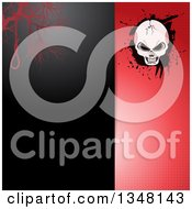 Clipart Of A Split Black And Red Halftone Halloween Invitation Background With A Noose And Cracked Skull On Grunge Royalty Free Vector Illustration