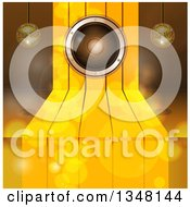 Clipart Of A 3d Music Speaker Over Gold Steps With Suspended Disco Music Balls And Flares Royalty Free Vector Illustration