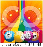 Clipart Of 3d Colorful Bingo Balls Over A Rainbow With Stars And Orange Rays Royalty Free Vector Illustration by elaineitalia