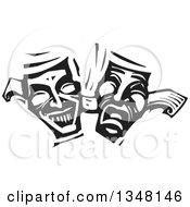 Black And White Woodcut Janus Theater Masks