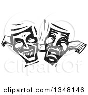 Clipart Of Black And White Woodcut Janus Theater Masks Royalty Free Vector Illustration
