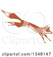 Woodcut Running And Leaping Fox