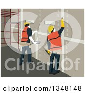 Clipart Of Team Of Construction Workers Working On Drywall Royalty Free Vector Illustration