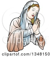 Clipart Of Virgin Mary In Brown And Blue Praying Royalty Free Vector Illustration by dero