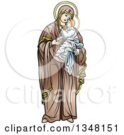 Clipart Of Virgin Mary Holding And Embracing Baby Jesus Royalty Free Vector Illustration