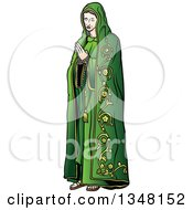 Clipart Of Virgin Mary In Green Praying Royalty Free Vector Illustration