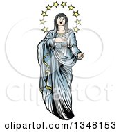Clipart Of Virgin Mary In Blue With Stars Royalty Free Vector Illustration by dero