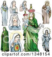Virgin Mary In Different Poses