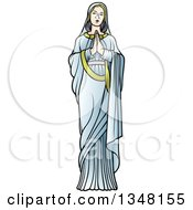 Clipart Of Full Length Virgin Mary In Blue Praying Royalty Free Vector Illustration