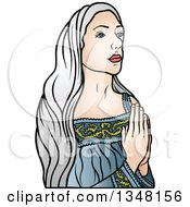 Clipart Of Virgin Mary In Blue Praying Royalty Free Vector Illustration