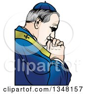 Clipart Of A Pope Praying Royalty Free Vector Illustration