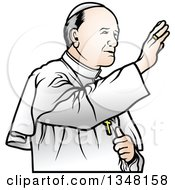 Clipart Of A Pope Waving Royalty Free Vector Illustration by dero