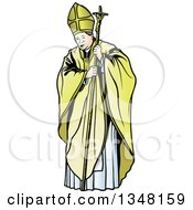 Clipart Of A Pope With A Staff Royalty Free Vector Illustration by dero