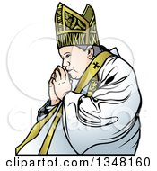 Clipart Of A Pope Praying 2 Royalty Free Vector Illustration