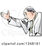 Clipart Of A Pope Welcoming Royalty Free Vector Illustration