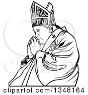 Clipart Of A Black And White Pope Praying 2 Royalty Free Vector Illustration by dero