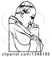 Clipart Of A Black And White Pope Praying Royalty Free Vector Illustration