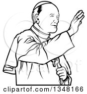 Clipart Of A Black And White Pope Waving Royalty Free Vector Illustration