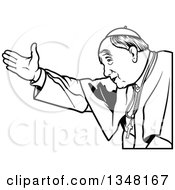 Clipart Of A Black And White Pope Welcoming Royalty Free Vector Illustration by dero