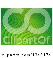 Clipart Of A Background Of Green Rippling Stripes Royalty Free Vector Illustration