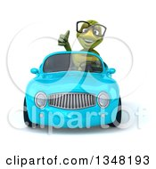 Clipart Of A 3d Bespectacled Tortoise Giving A Thumb Up And Driving A Blue Convertible Car Royalty Free Illustration
