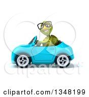 Clipart Of A 3d Bespectacled Tortoise Driving A Blue Convertible Car To The Left Royalty Free Illustration