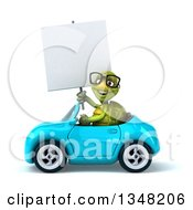 Clipart Of A 3d Bespectacled Tortoise Holding A Blank Sign And Driving A Blue Convertible Car To The Left Royalty Free Illustration
