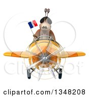Clipart Of A 3d French Snail Aviator Pilot Holding A Flag And Flying A Yellow Airplane To The Left Royalty Free Illustration