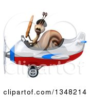 Clipart Of A 3d French Snail Aviator Pilot Holding Bread And Flying A White Red And Blue Airplane To The Left Royalty Free Illustration