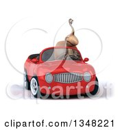 Clipart Of A 3d Snail Driving A Red Convertible Car Royalty Free Illustration
