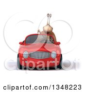 Clipart Of A 3d Snail Giving A Thumb Down And Driving A Red Convertible Car To The Left Royalty Free Illustration