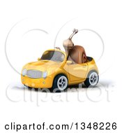 Clipart Of A 3d Snail Pointing And Driving A Yellow Convertible Car To The Left Royalty Free Illustration