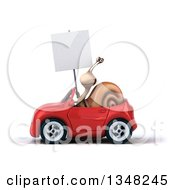 Clipart Of A 3d Snail Holding A Blank Sign And Driving A Red Convertible Car To The Left Royalty Free Illustration