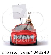 Clipart Of A 3d Snail Holding A Blank Sign And Driving A Red Convertible Car Royalty Free Illustration