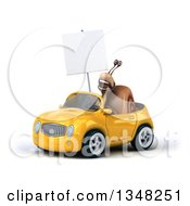 Clipart Of A 3d Snail Holding A Blank Sign And Driving A Yellow Convertible Car To The Left Royalty Free Illustration