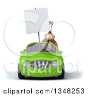 Clipart Of A 3d Snail Holding A Blank Sign And Driving A Green Convertible Car Royalty Free Illustration