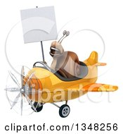 Clipart Of A 3d Snail Aviator Pilot Holding A Blank Sign And Flying A Yellow Airplane To The Left Royalty Free Illustration by Julos